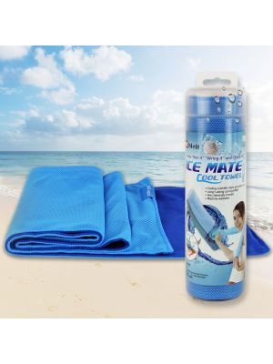 Cooling Towel Ultra Lightweight Durable Chilling Sports Towel – Stay Cool for Hours! (Perfect for Yoga Exercise Running Hiking) – Machine Washable [8x40 inches][Blue/Light Blue]